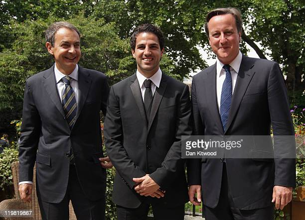 Arsenal and Spanish international footballer Cesc Fabregas Spanish Prime Minister Jose Luis Rodriguez Zapatero and British Prime Minister David...