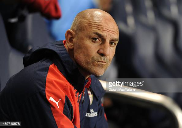 Arsenal assistant manager Steve Bould before the Capital One Cup Third Round match between Tottenham Hotspur and Arsenal at White Hart Lane on...