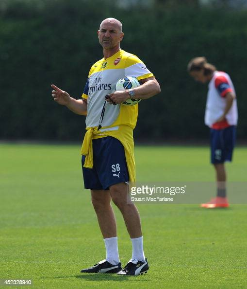 Arsenal assistant manager Steve Bould during a training sesion at London Colney on July 18 2014 in St Albans England