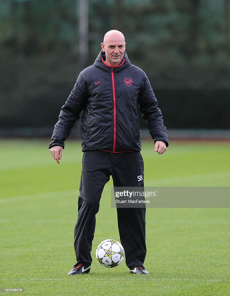 Arsenal assistant manager Steve Bould during a training session at London Colney on December 03, 2012 in St Albans, England.
