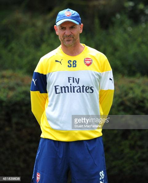Arsenal Assistant Manager Steve Bould during a training session at London Colney on July 8 2014 in St Albans England