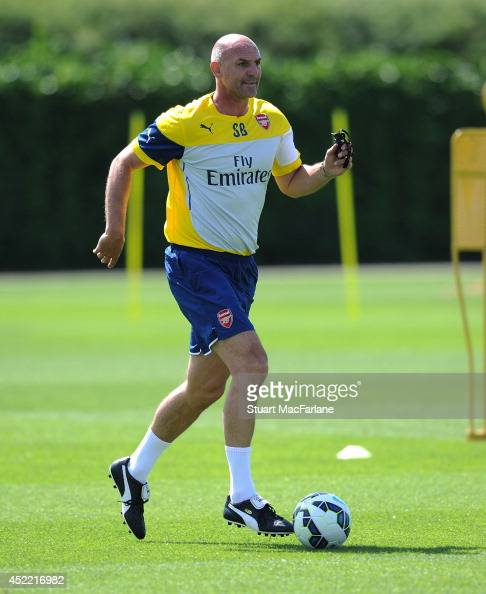 Arsenal assistant manager Steve Bould during a training session at London Colney on July 16 2014 in St Albans England