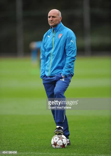 Arsenal Assistant Manager Steve Bould during a training session at London Colney on August 26 2014 in St Albans England