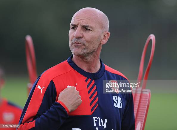 Arsenal assistant manager Steve Bould during a training session at London Colney on July 7 2015 in St Albans England