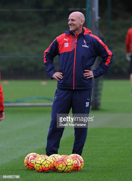 Arsenal assistant manager Steve Bould during a training session at London Colney on October 30 2015 in St Albans England