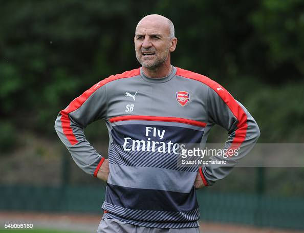 Arsenal assistant manager Steve Bould during a training session at London Colney on July 5 2016 in St Albans England