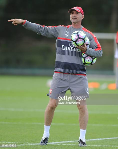 Arsenal Assistant Manager Steve Bould during a training session at London Colney on July 11 2016 in St Albans England