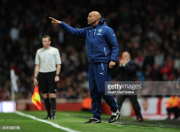 Arsenal Assistant manager Steve Bould during the Barclays Premier League match between Arsenal and Sunderland at Emirates Stadium on May 20 2015 in...