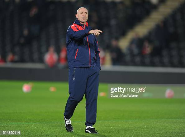 Arsenal assistant manager Steve Bould the Emirates FA Cup 5th Round replay between Hull City and Arsenal at the KC Stadium on March 8 2016 in Hull...