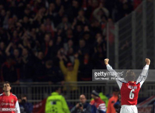 LEAGUE Arsenal captain Tony Adams salutes the travelling fans after scoring against Olympic Lyonnais in the Champions League Group C game in Lyon