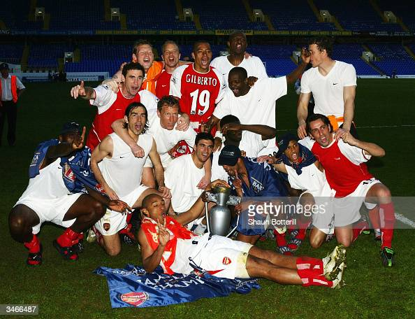 Arsenal celebrate at the end off the FA Barclaycard Premiership match between Tottenham Hotspur and Arsenal at White Hart Lane on April 25 2004 in...