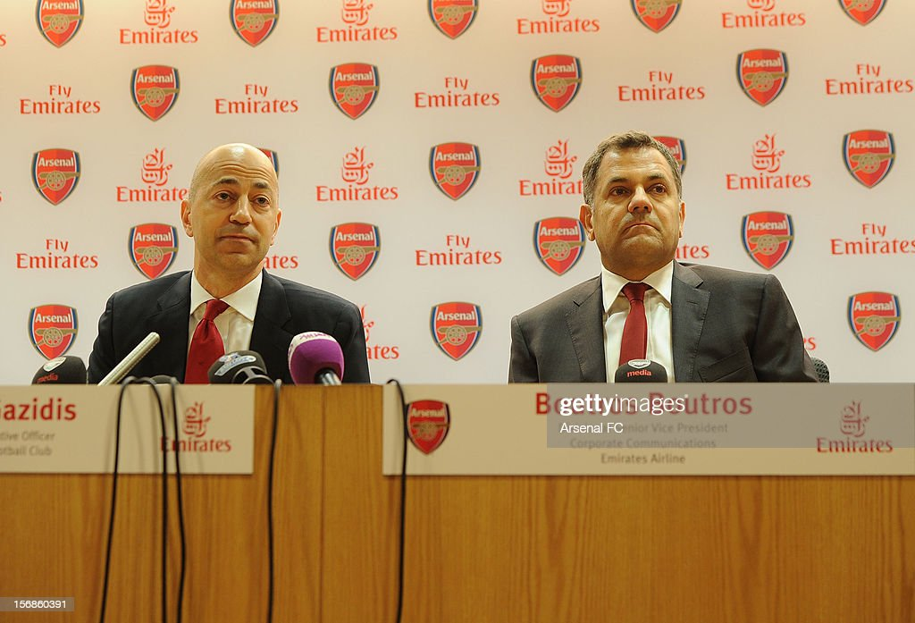 Arsenal CEO Ivan Gazidis and Boutros Boutros Divisional Senior Vice President - Corporate Communications of Emirates Airlines announce new commercial partnership with Emirates Airlines at Emirates Stadium on November 23, 2012 in London, England. (Photo by Stuart MacFarlane/Arsenal FC via Getty Images
