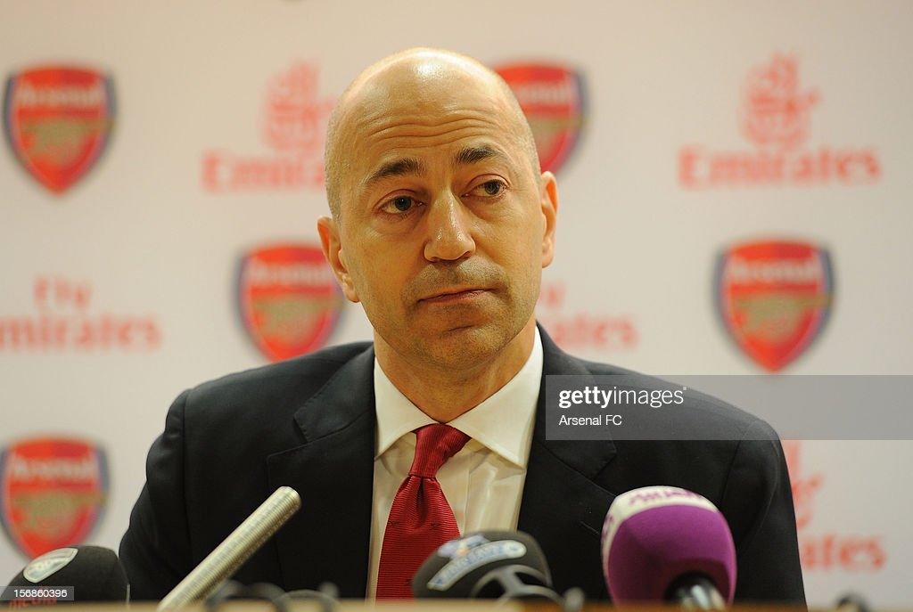 Arsenal CEO Ivan Gazidis announces new commercial partnership with Emirates Airlines at Emirates Stadium on November 23, 2012 in London, England.