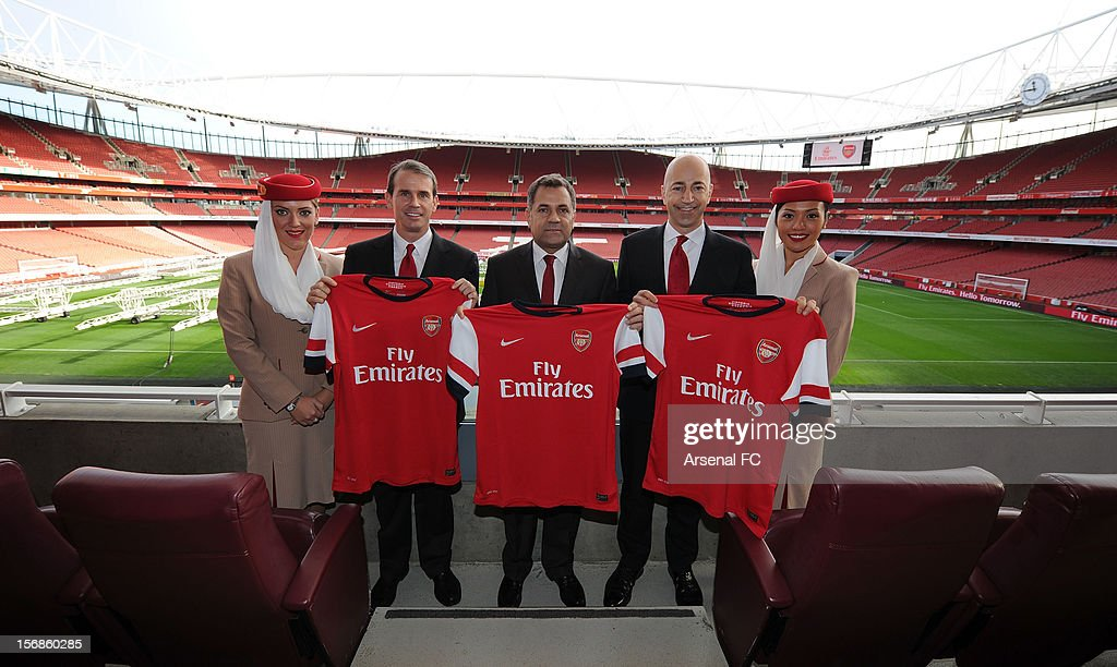 Arsenal Chief Commercial Officer Tom Fox, Divisional Senior Vice President - Corporate Communications of Emirates Airlines Boutros Boutros and Arsenal CEO Ivan Gazidis announce new commercial partnership with Emirates Airlines at Emirates Stadium on November 23, 2012 in London, England.