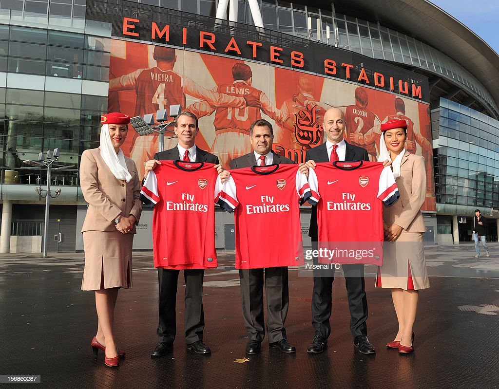 Arsenal Chief Commercial Officer Tom Fox, Divisional Senior Vice President - Corporate Communications of Emirates Airline Boutros Boutros and Arsenal CEO Ivan Gazidis announce new commercial partnership with Emirates Airlines at Emirates Stadium on November 23, 2012 in London, England.
