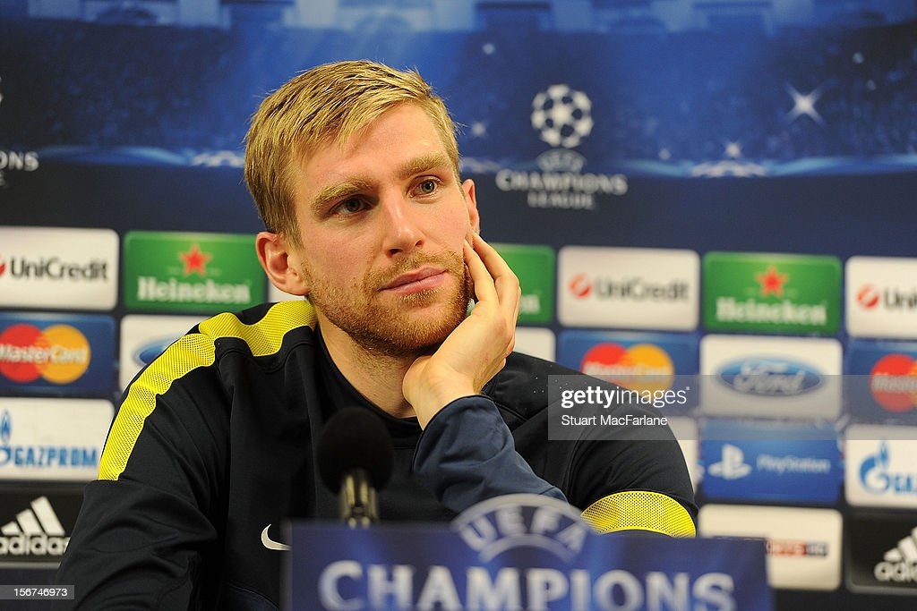 Arsenal defender Per Mertesacker attends a press conference at London Colney on November 20, 2012 in St Albans, England.