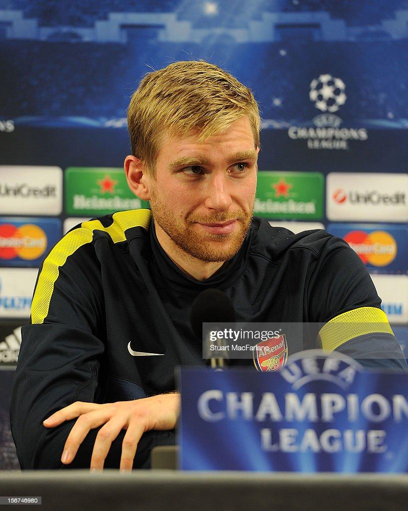 Arsenal defender Per Mertesacker attends a press conference at London Colney on November 20, 2012 in St Albans, England.