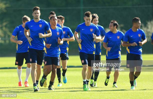 Arsenal during a training session at London Colney St Albans