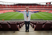 Arsenal Fan and Olympic Diver Pete Waterfield has a tour of Emirates Stadium before the Barclays Premier League match between Arsenal and Bolton...