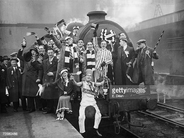 Arsenal fans at King's Cross to catch the special trains to Huddersfield for the F A Cup semi final against Grimbsy 21st March 1936 Arsenal won 10
