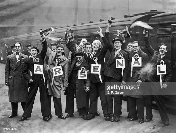 Arsenal fans at Waterloo Station on their way to an F A Cup tie at against Portsmouth at Fratton Park 13th February 1932