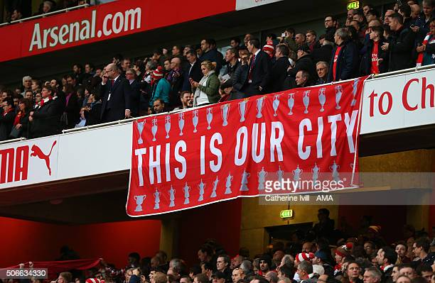 Arsenal fans display a banner saying this is our city during the Barclays Premier League match between Arsenal and Chelsea at the Emirates Stadium on...