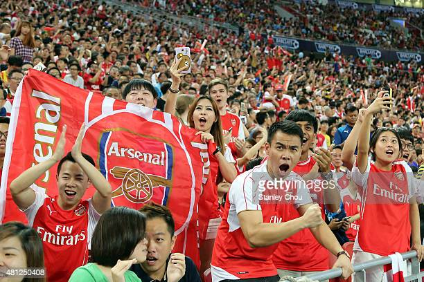 Arsenal fans during the Barclays Asia Trophy final match between Arsenal and Everton at the National Stadium on July 18 2015 in Singapore