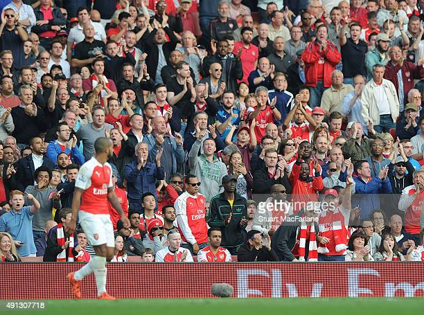 Arsenal fans during the Barclays Premier League match between Arsenal and Manchester United at Emirates Stadium on October 4 2015 in London England