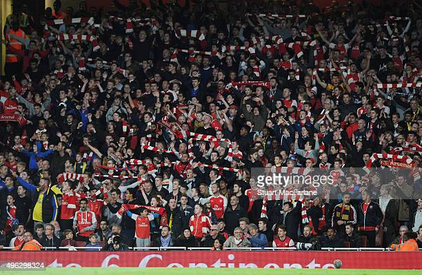 Arsenal fans during the Barclays Premier League match between Arsenal and Tottenham Hotspur at Emirates Stadium on November 8 2015 in London England