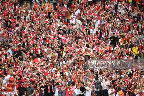 Arsenal fans during the Emirates FA Cup Final between Arsenal and Chelsea at Wembley Stadium on May 27 2017 in London England