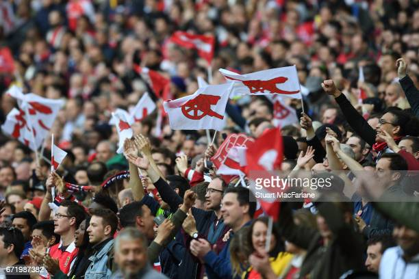 Arsenal fans during the Emirates FA Cup SemiFinal match between Arsenal and Manchester City at Wembley Stadium on April 23 2017 in London England
