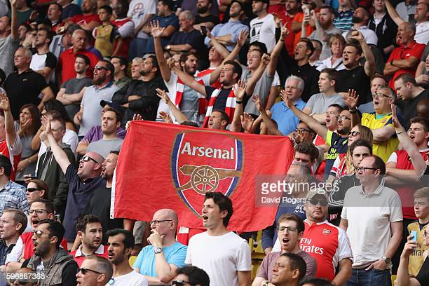 Arsenal fans during the Premier League match between Watford and Arsenal at Vicarage Road on August 27 2016 in Watford England