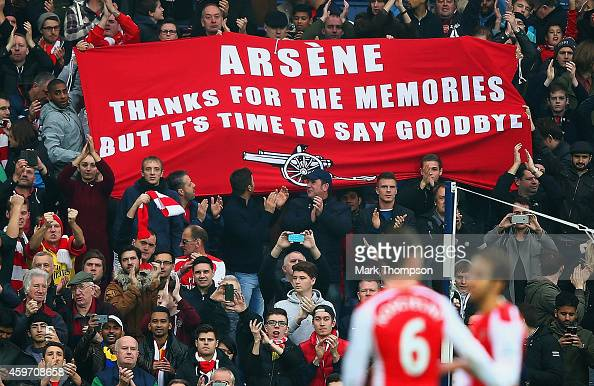 Arsenal fans hold up a banner for Arsene Wenger manager of Arsenal during the Barclays Premier League match between West Bromwich Albion and Arsenal...