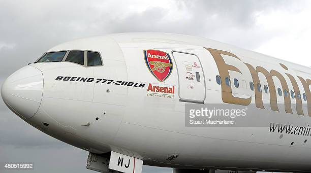 Arsenal FC branded Emirates plane as they travel to Singapore for the Barclays Asia Trophy at Stansted Airport on July 12 2015 in London England