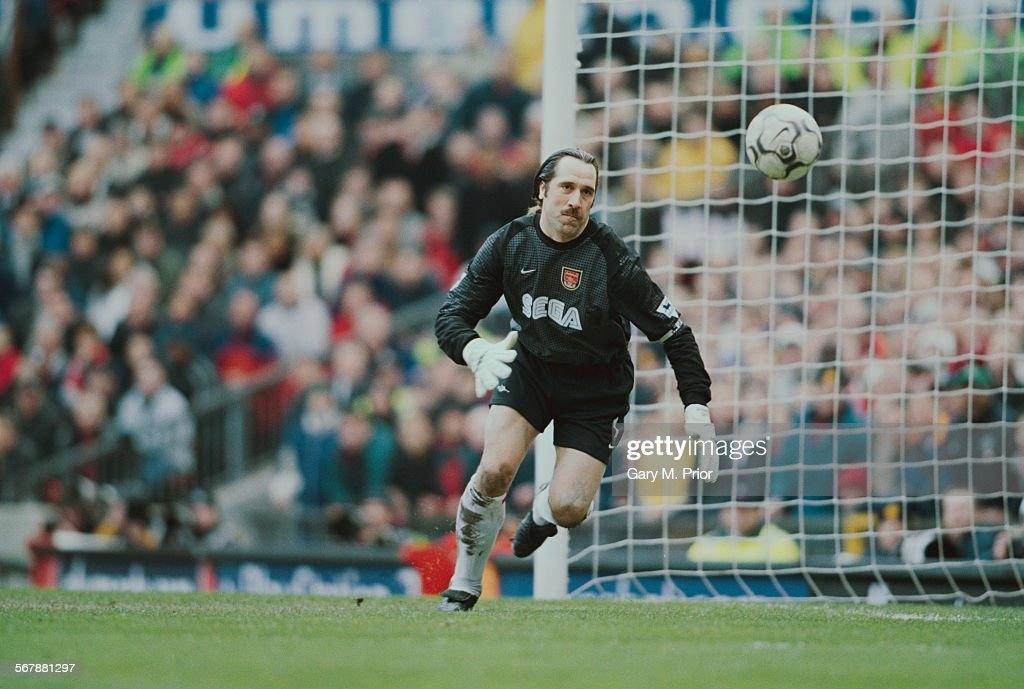 Arsenal F.C. goalkeeper David Seaman during a Premier League match against Manchester United F.C. at Old Trafford, 25th February 2001. Manchester United went on to win the match 6-1.