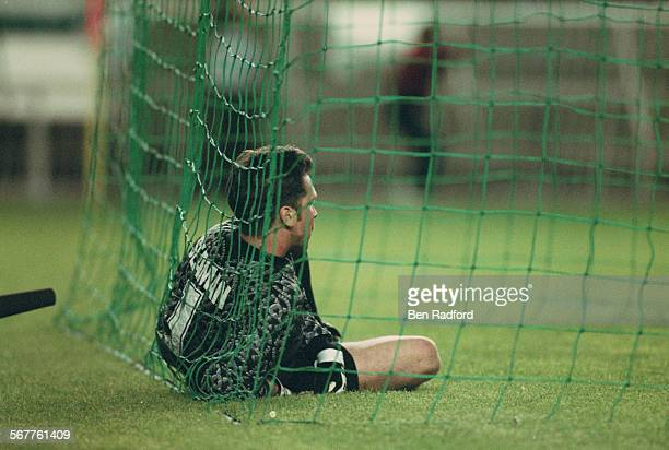 Arsenal FC goalkeeper David Seaman looks on in disbelief after letting in a last minute winning goal from Nayim during the UEFA Cup Winners' Cup...