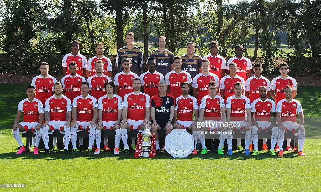 Arsenal FC Squad for season 2015/16. Back row (l-r) Jeff Reine-Adelaide; Mathieu Flamini; Matt Macey; Petr Cech; David Ospina; Alex Iwobi; Joel Campbell; Middle row (l-r) Mathieu Debuchy; Francis Coquelin; Nacho Monreal, Gabriel; Danny Welbeck; Olivier Giroud; Calum Chambers, Kieran Gibbs; Alex Oxlade-Chamberlain; Hector Bellerin Front row (l-r) Alexis Sanchez, Jack Wilshere, Mesut Ozil, Tomas Rosicky, Per Mertesacker, Arsene Wenger (manager), Mikel Arteta, Laurent Koscielny, Aaron Ramsey, Theo Walcott, Santi Cazorla at London Colney on September 10, 2015 in St Albans, England.