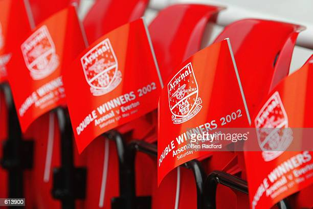 Arsenal flags in honour of the teams success this season winning the double of the League Championship and FA Cup before the FA Barclaycard...