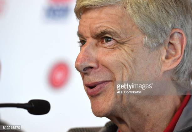 Arsenal football manager Arsene Wenger answers a question during a press conference on July 11 ahead of two preseason football friendly matches...