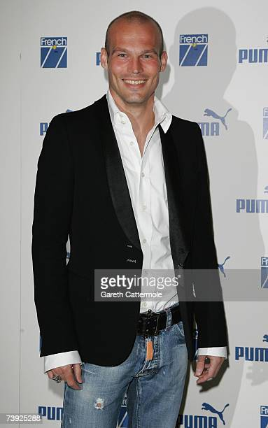 Arsenal football player Freddie Ljungberg arrives at the PUMA French 77 party at Claridges on April 19 2007 in London