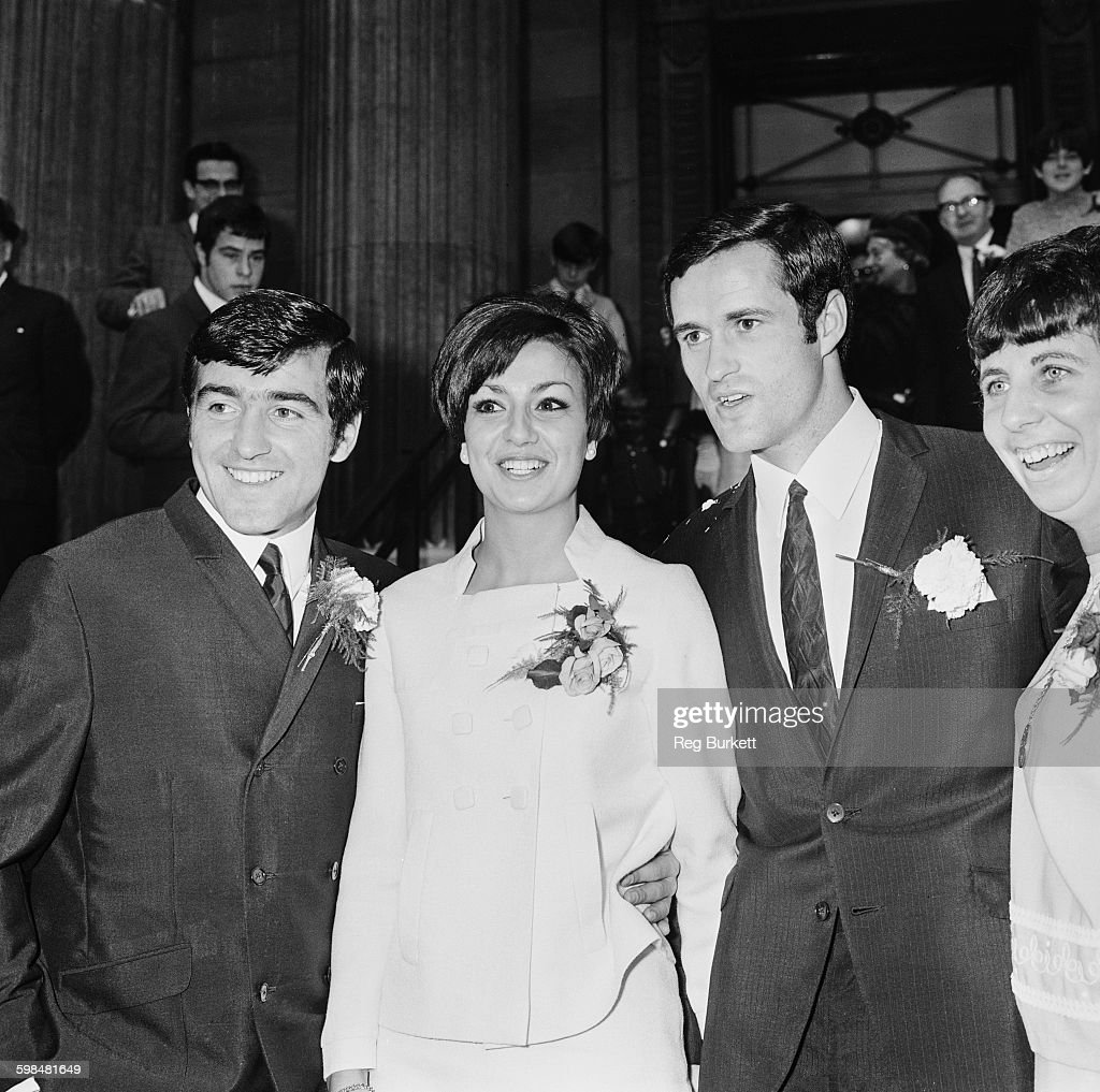 Arsenal footballer <a gi-track='captionPersonalityLinkClicked' href=/galleries/search?phrase=George+Graham&family=editorial&specificpeople=224819 ng-click='$event.stopPropagation()'>George Graham</a> with his new wife, model Marie Zia, after their wedding at Marylebone Town Hall, London, UK, 16th September 1967. On the left is best man <a gi-track='captionPersonalityLinkClicked' href=/galleries/search?phrase=Terry+Venables&family=editorial&specificpeople=240288 ng-click='$event.stopPropagation()'>Terry Venables</a> of Tottenham Hotspur.