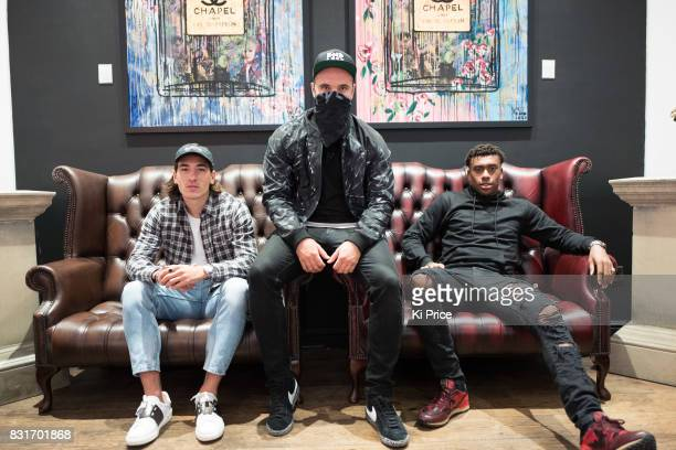 Arsenal footballer Hector Bellerin artist Endless and Arsenal footballer Alexander Iwobi attend Endless the artist's latest exhibition 'Beaut' at the...