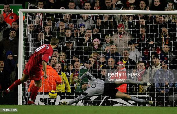 Arsenal Goal Keeper Jens Lehmann saves the penalty kick from Liverpool's Steven Gerrard during the Barclays Premiership match between Liverpool and...