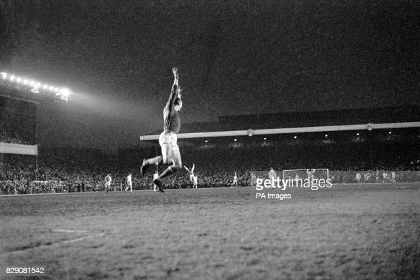 Arsenal goalkeeper Bob Wilson leaps for joy as Arsenal's third goal enters the Anderlecht net to give the Londoners a 43 aggregate victory in the...