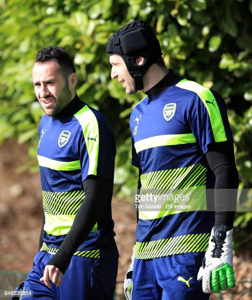 Arsenal goalkeeper David Ospina and goalkeeper Petr Cech during a training session at the Arsenal Training Centre London Colney