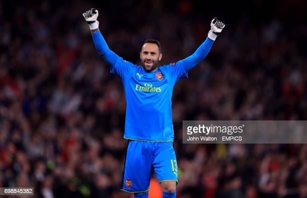 Arsenal goalkeeper David Ospina celebrates his side's first goal