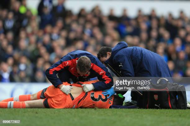 Arsenal goalkeeper David Ospina receives treatment for an injury after a clash with Everton's Romelu Lukaku