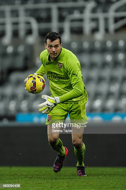 Arsenal goalkeeper Dejan Iliev carries the ball during the U21 Barclays Premier League match between Newcastle United and Arsenal at St James' Park...
