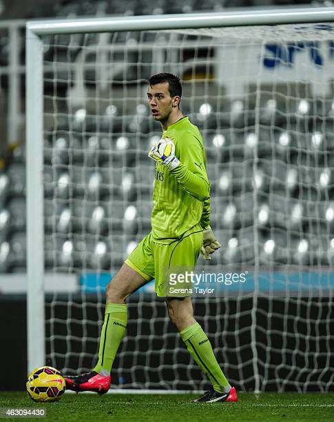 Arsenal goalkeeper Dejan Iliev controls the ball during the U21 Barclays Premier League match between Newcastle United and Arsenal at St James' Park...