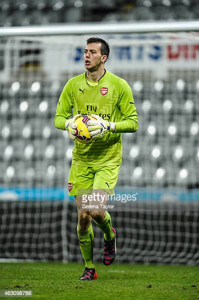 Arsenal goalkeeper Dejan Iliev runs with the ball during the U21 Barclays Premier League match between Newcastle United and Arsenal at St James' Park...